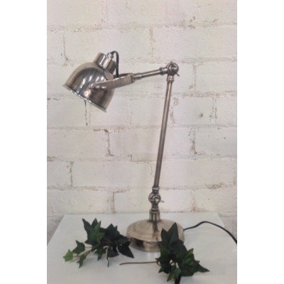 Silver Desktop Lamp with Swan Neck