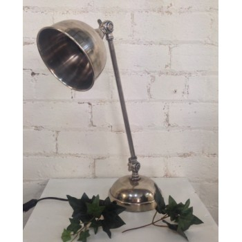 Silver Desktop Lamp with Straight Neck