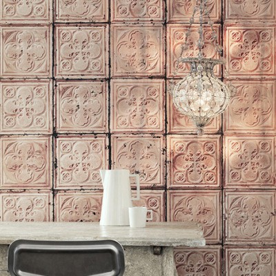 Aged Mushroom Pink Pressed Tin Wallpaper