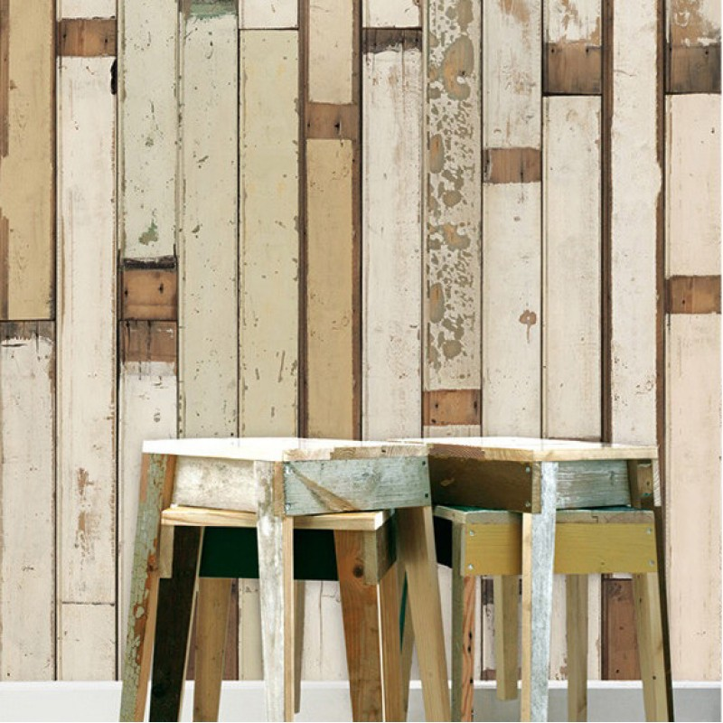 Pastels Wooden Look Wallpaper