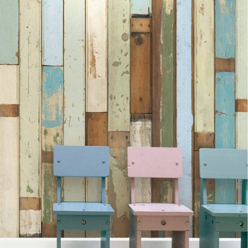 Pastel Browns Wooden Look Wallpaper