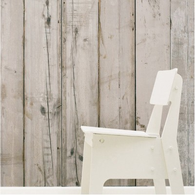 White Wooden Look Wallpaper