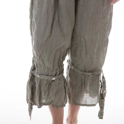 Linen Berdine Pants with Flat Front and Button Ties on the Legs