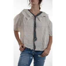 Linen Georgie Pullover Top with Lace Lined Collar and Necktie and Lace Details on the Front