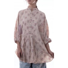 European Floral Cotton Octavia Top with Long Sleeve, Six Front Buttons, Hand Stitched Patches and Mending