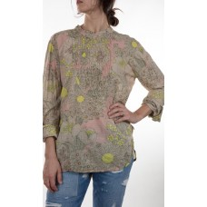 European Cotton Daydreamer Top with Long Sleeves, Gathered Neckline, Button Cuffed