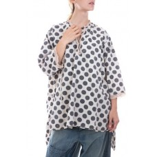Polka Dot Cotton Top with Long Sleeves