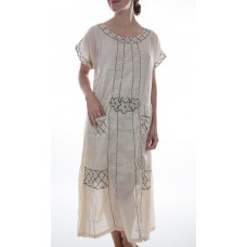 Linen Ramie Camellia Dress with Hand Embroidery and Silk
