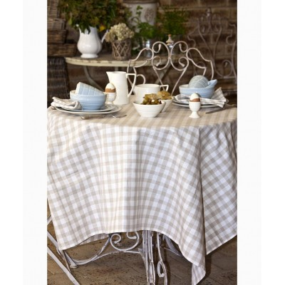 Country Checks Tablecloth (Natural)
