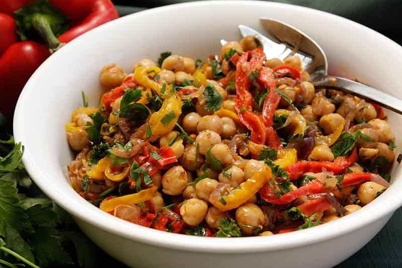 Chickpea Salad with Sweet Peppers and Herbs