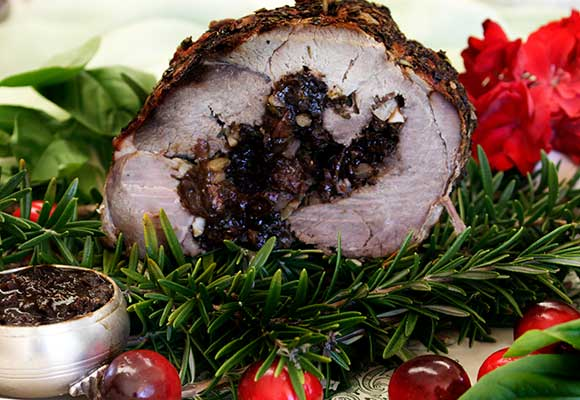 Provence: Festive Rolled Lamb with Figs, Nuts and Balsamic Sauce