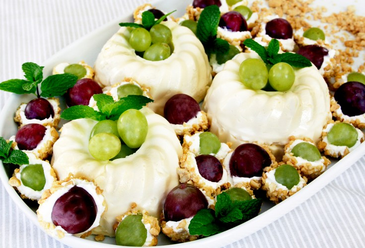 French Crème with Yoghurt and Nut Coated Grapes