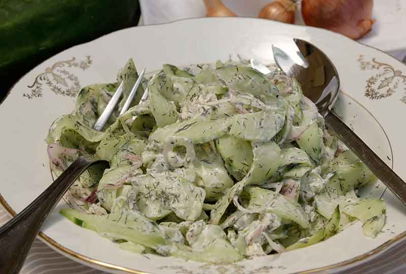 French Cucumber Salad with Dill and Crème Fraiche