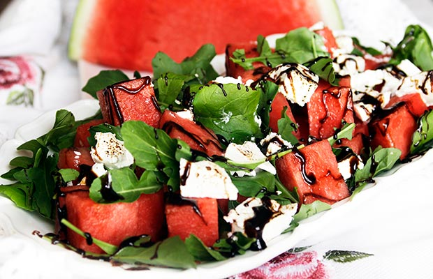 Provence: French Style Watermelon Salad with Torched Goat Cheese