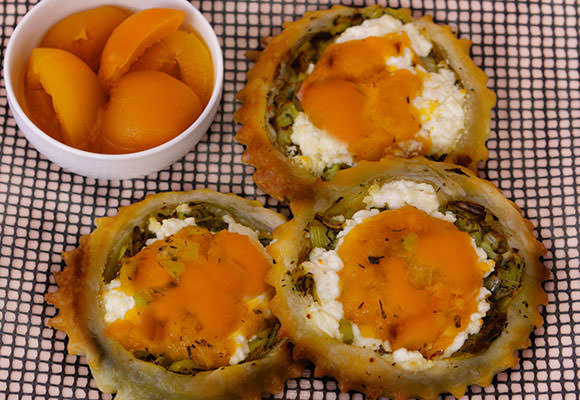 Provence: Goat Cheese Tarts with Apricots and Leeks