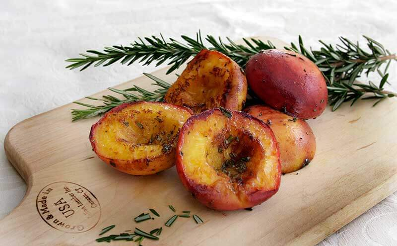 Grilled Peaches with Cinnamon and Rosemary