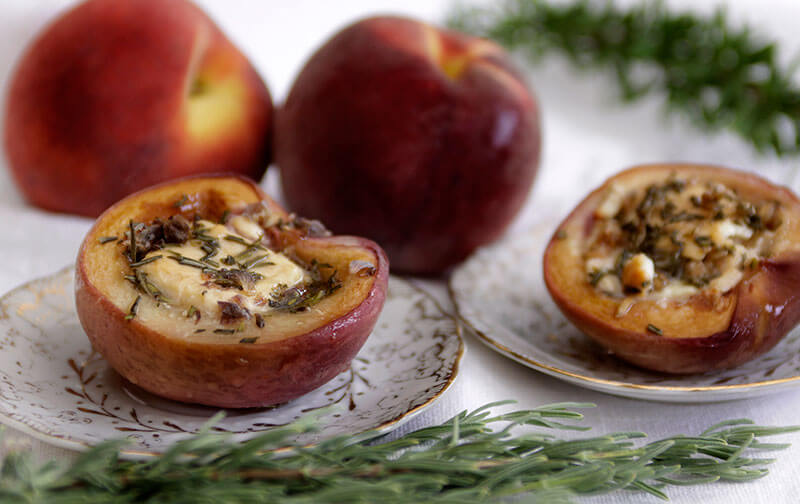 Peaches with Goat Cheese and Lavender