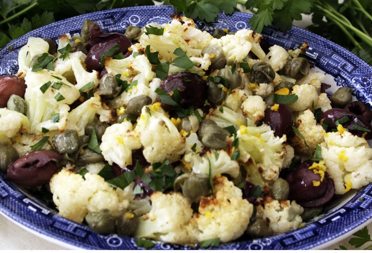 Provencal Roasted Cauliflower with Herbs and Olives