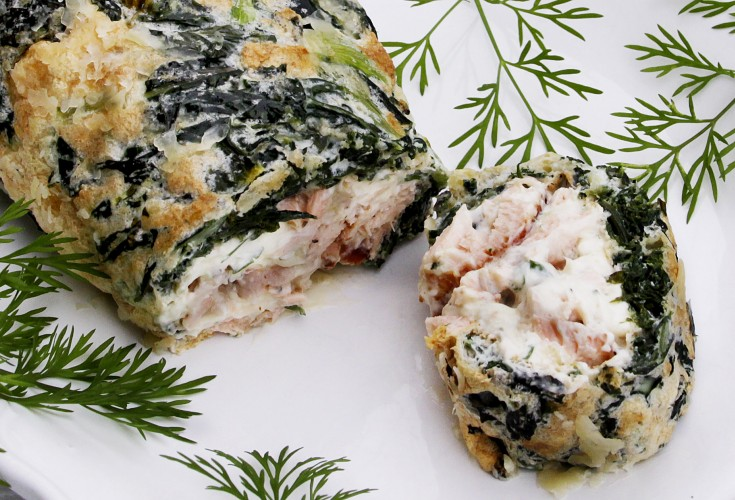 Salmon Roulade with Herbs and Parmesan