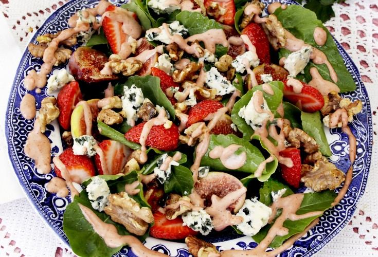 Strawberry Dressing on Fig, Strawberry and Blue Cheese Salad