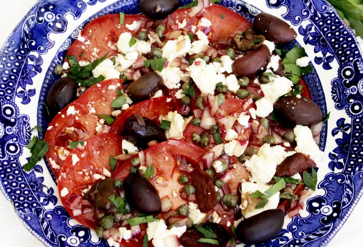 Tomato, Goat Cheese and Caper Salad