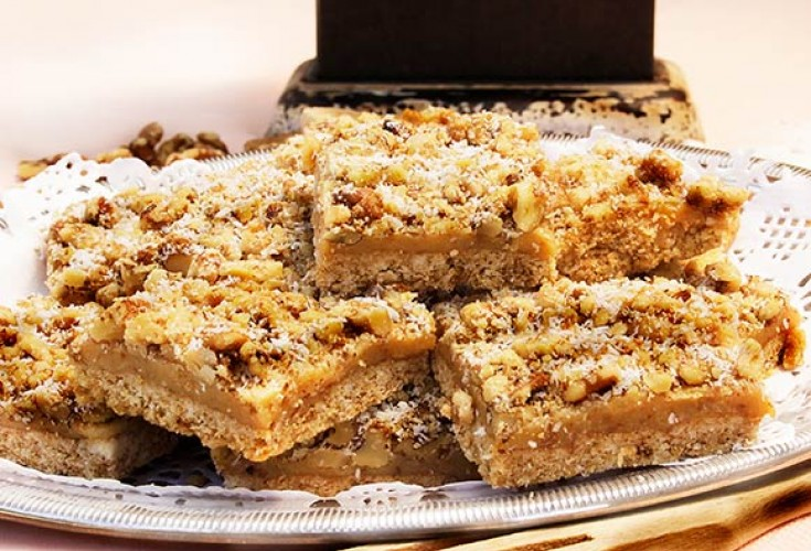 Walnut and Caramel Slice