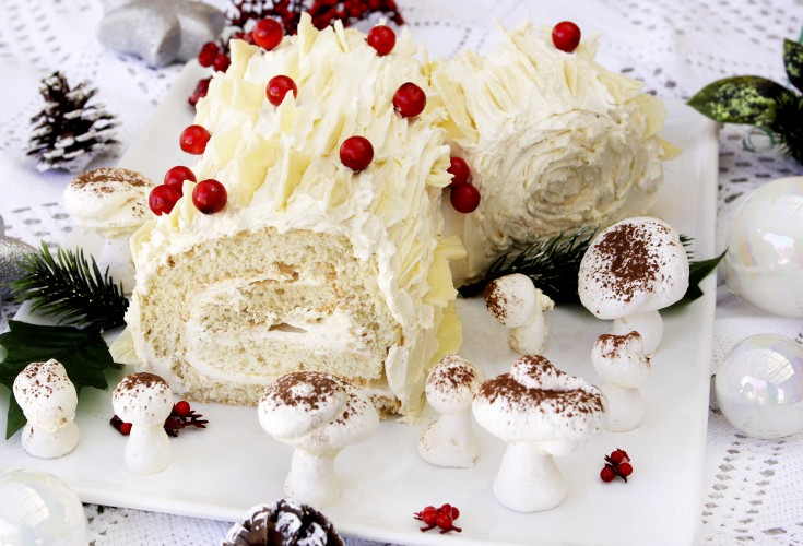 White Chocolate Buche de Noel