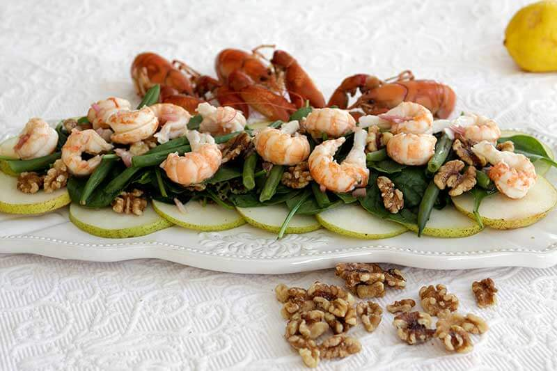 Yabby Salad with Pears and Walnuts